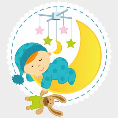 Adesivi cameretta bambini buonanotte bimbo luna orsacchiotto nanna1 edesign16 - Adesivi cameretta bimbo ...